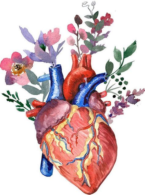 Watercolor Heart and Flowers