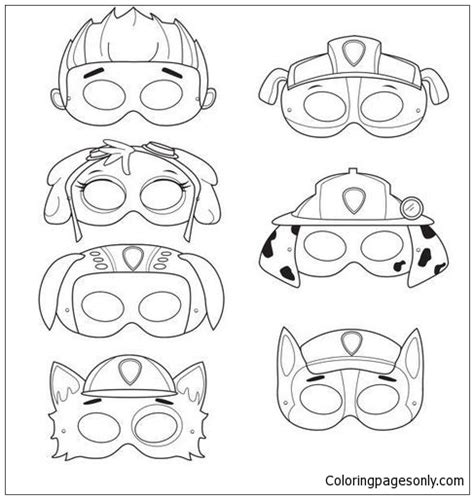 Paw Patrol Mask Coloring Page - Free Coloring Pages Online