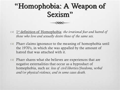Suzanne pharr homophobia; a weapon of sexism-