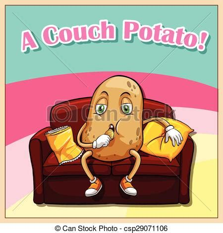 English idiom saying a couch potato vector clipart