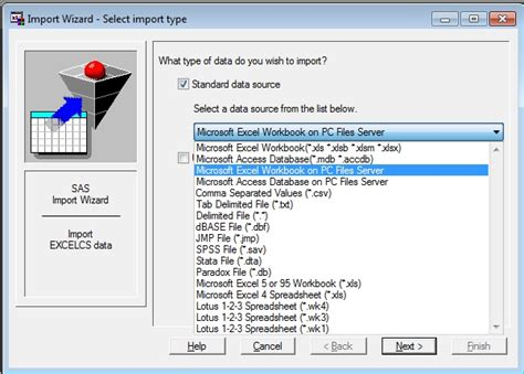 44197 - Using the Import Wizard with the SAS® PC Files Server