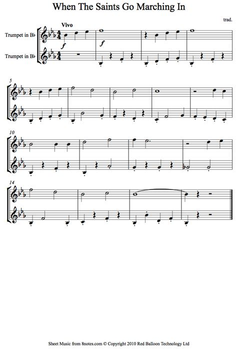 When the saints go marching in sheet music for Trumpet