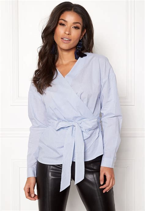 ONLY Helen Wrap Shirt Bright White - Bubbleroom
