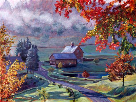 Farm In The Dell Painting by David Lloyd Glover