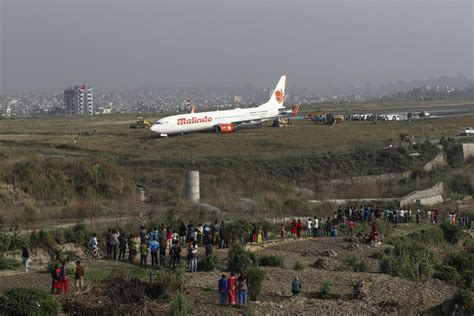 Chaos at Kathmandu airport after plane skids off the
