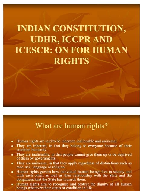 INDIAN CONSTITUTION, UDHR, ICCPR AND ICESCR: ON FOR HUMAN