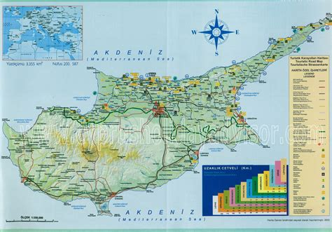 Northern Cyprus map, road map of North Cyprus, tourist