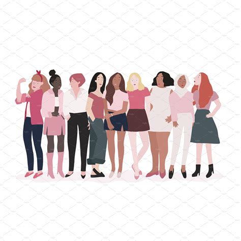 Group of strong women vector ~ Graphics ~ Creative Market