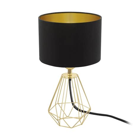 Eglo Carlton Gold Wire Frame Table Lamp and Shade, 95788