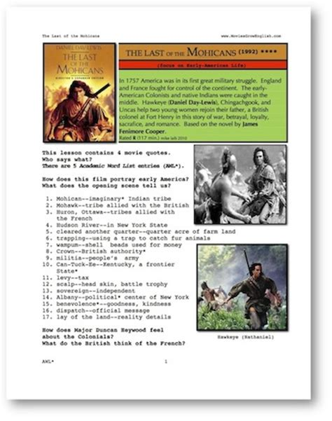 Movies Grow English   ESL Movie Lesson   Last of the Mohicans