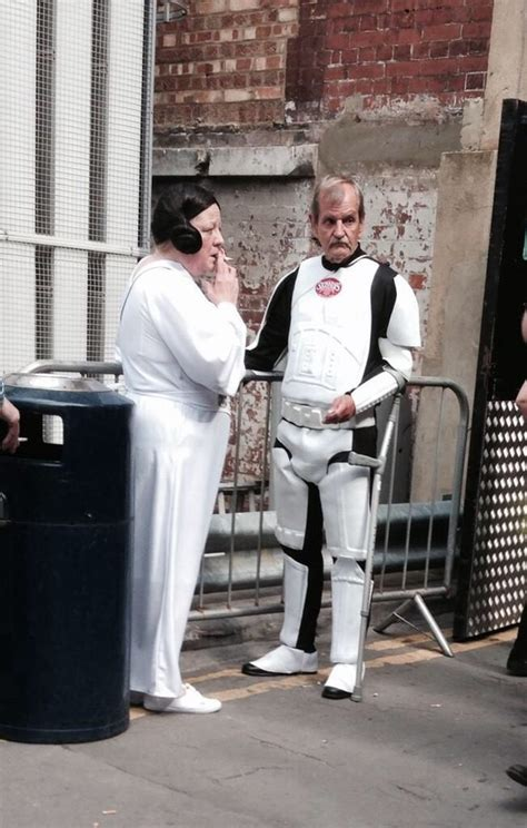 Carrie Fisher and Mark Hamill pictured on Star Wars VII