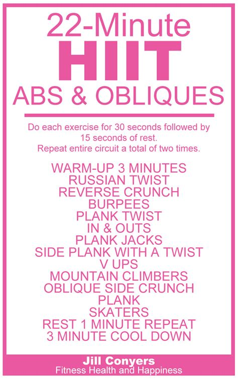 HIIT Abs & Obliques Workout | Jill Conyers || Fitness